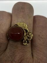 Vintage Carnelian Ring Bronze Flowers Size 8 - $75.23