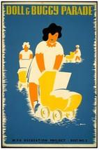6893.Doll & buggy parade.woman pushing baby buggy.POSTER.art wall decor - $10.89+