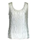 80s FRANK USHER 100% Silk Ivory White Beaded Rainbow Sequinned Occasion ... - $44.00