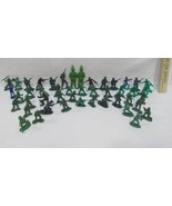 Vintage Army Men Soldiers Toy Plastic Green 2 Blue Lot of 46 - $6.92