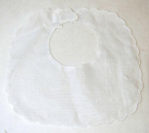 Bobbin Inc 38BB1305 White Linen Gilucci Hemstitched Baby Bib