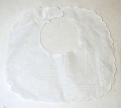 Bobbin Inc 38BB1305 White Linen Gilucci Hemstitched Baby Bib image 1