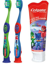 Colgate Kids PJ MASKS Gift Set Two Manual Toothbrushes fluoride Toothpaste 4.6OZ