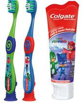 Colgate Kids PJ MASKS Gift Set Two Manual Toothbrushes fluoride Toothpaste 4.6OZ image 1