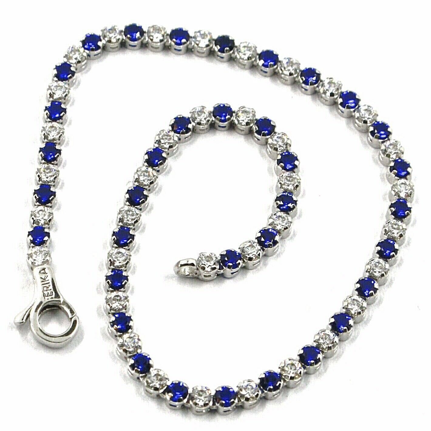Primary image for 18K WHITE GOLD TENNIS BRACELET BLUE CUBIC ZIRCONIA 2.5mm LOBSTER CLASP CLOSURE