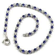 18K WHITE GOLD TENNIS BRACELET BLUE CUBIC ZIRCONIA 2.5mm LOBSTER CLASP C... - $391.00