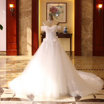 2019 Women White Beaded Pricess Wedding Dress Ball Gown Women Bridal Party Gowns - $130.66