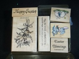 Stampin Up Easter Blessings Rubber Stamp Set Retired 1998 Bunny Chick Li... - $17.77