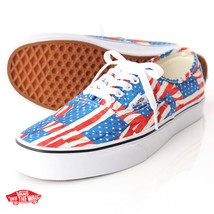 Vans-AUTHENTIC Free Flag Red WHITE-Skate-Shoes-MENS Size Classics 8 8.5 - $46.71+