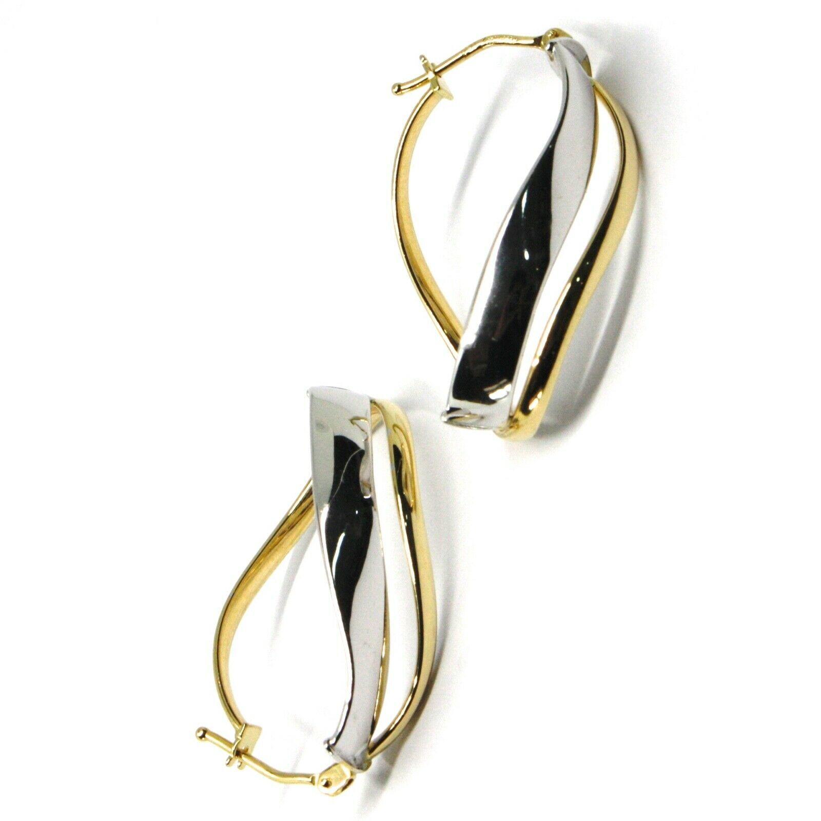 18K YELLOW WHITE GOLD PENDANT EARRINGS ONDULATE OVAL DOUBLE TUBE HOOPS 2.9cm