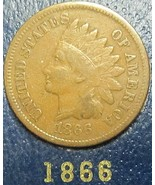 Indian Head Cent 1866 G #105 - $22.00