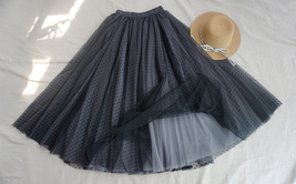 Black Dot Midi Skirt Women High Waist Midi Tutu Skirt Bridesmaid Skirt Plus Size
