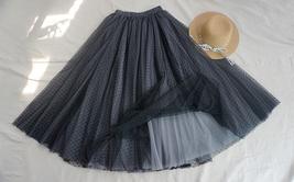 Black Midi Tutu Skirt Polka Dot Tulle Skirt Wedding Guest Skirt Outfit image 1