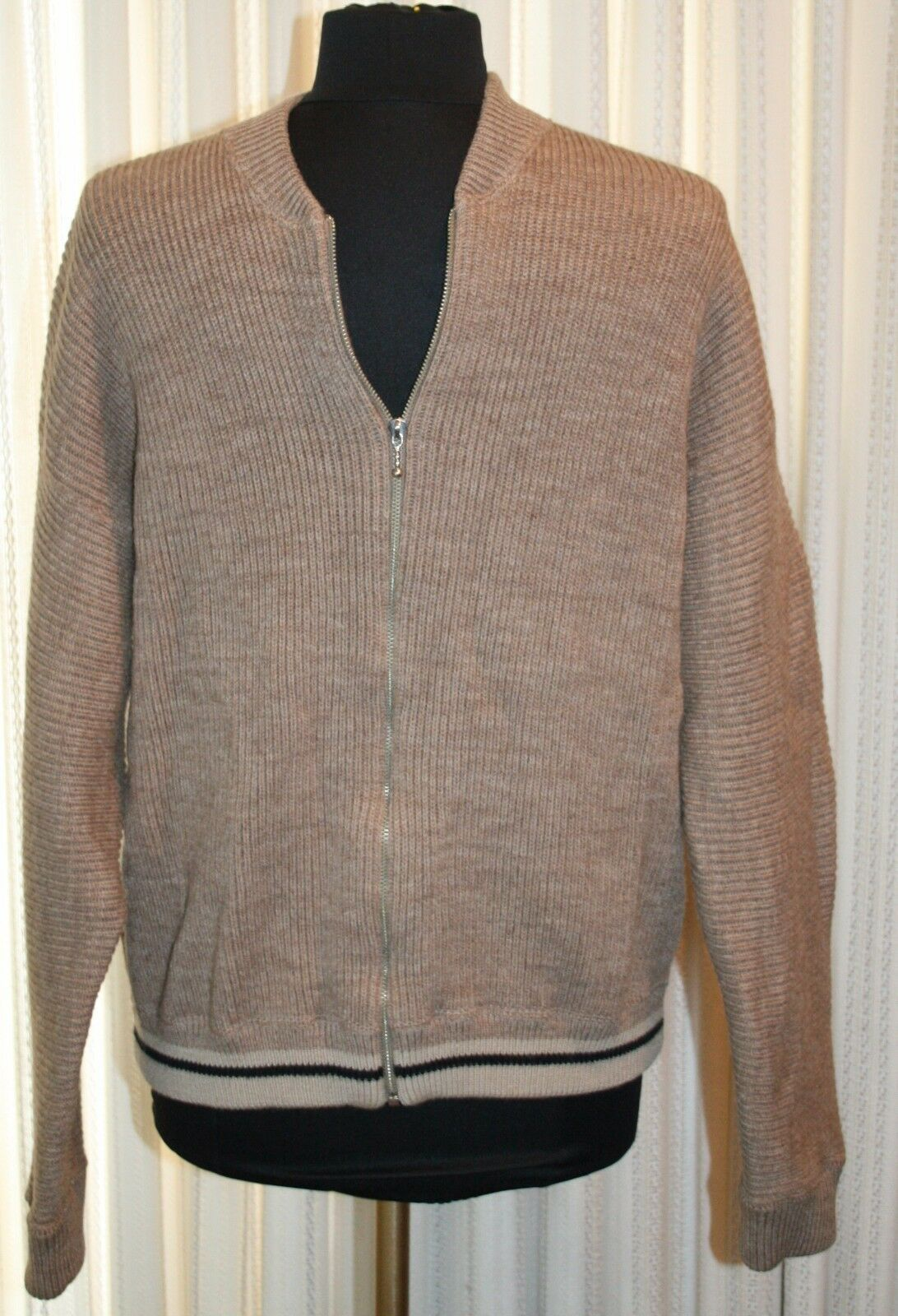 Primary image for J Crew Beige Wool Heavy Knit Sweater Sz M  Cardigan Zip Front Light Brown Mens