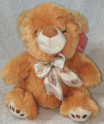 Woody Toys 76229S 10 Inch Burnt Orange Bear With A Paw Print Bow