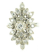 Vintage 14k White Gold Cocktail 1.05 cttw Diamonds Huge Marquise Ring Sz5 1950's - $881.99