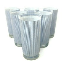 Mikasa Pinstripe Blue White 14 Ounce Highball Tea Tumbler Glasses Set Of 6 - $106.00