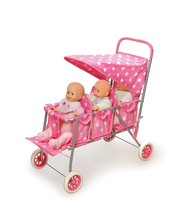 "Triple Doll Stroller, Pink with White Dots, Fits 18"" Dolls, Gift for dau... - $58.78"