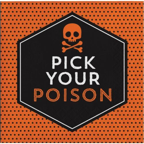 Pick Your Poison 16 Beverage Napkins Halloween Cocktail Skull Bones