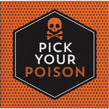 Pick Your Poison 16 Beverage Napkins Halloween Cocktail Skull Bones - $4.39
