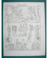 MYTHOLOGY Gods Convention Persephone Nemesis Orestes - 1825 Antique Print - $9.79