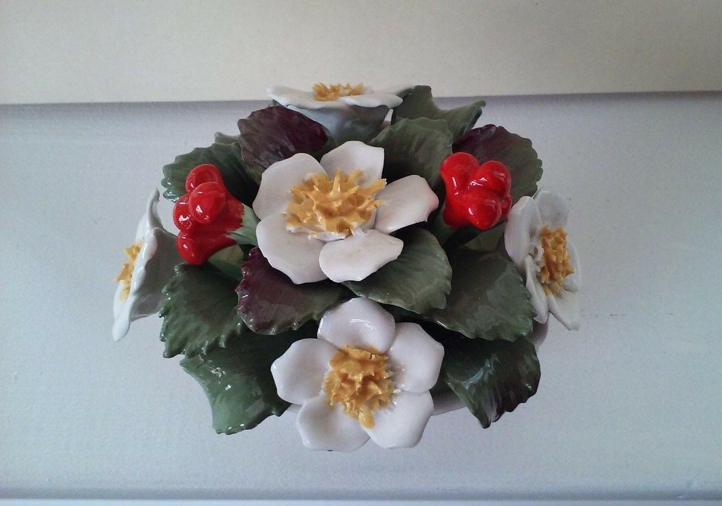 Vintage Aynsley Bone China December Christmas Rose Basket hand painted bouquet image 7