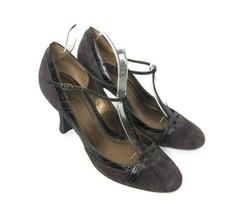 Ann Taylor LOFT Womens Size 7.5 Brown T-strap Suede Retro Closed Toe Heels - $24.74