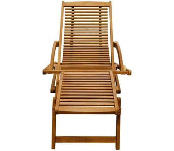 Garden Sun Lounger Patio Wooden Chair Foldable Lounge With Footrest Acacia Wood