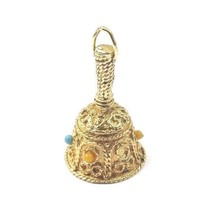 14k Yellow Gold Vintage 3D Butler's Wedding Bell Charm Pendant With Colo... - $397.38