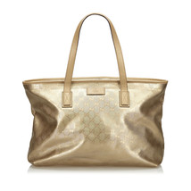 Pre-Loved Gucci Gold PVC Plastic GG Imprime Tote Bag Italy - $475.74