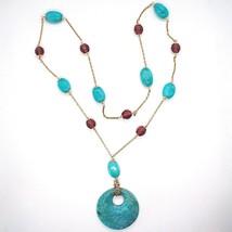 Halskette Silber 925 Pink, Achat Blau Oval, Medaillon, Länge 75 CM - $200.88