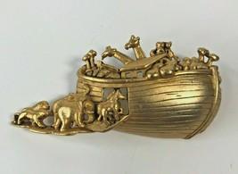 Vintage 1980's A.J.C. Jewelry Noah's Ark Gold Tone Pin Brooch 2R1-34 et - $45.87
