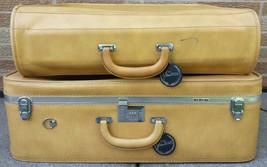 Vtg VENTURA Suitcase & Garment Bag Mustard Tan Locking Luggage Set Tweed... - $47.88