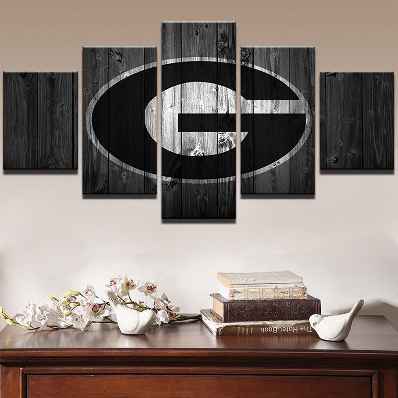 5Pcs Georgia Bulldogs College Football Canvas Barn Wood