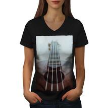Guitar Strings Art Music Shirt Old Instrument Women V-Neck T-shirt - $12.99+