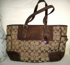 AUTH COACH Tote Bag Brown Suede Signature C Canvas 1443 - $52.46