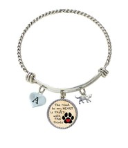 Custom Heart Cat Road to My Heart Paw Print Silver Wire Bracelet Choose ... - $17.09