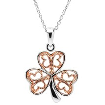 Shamrock Pendant Clover Shape Necklace 14K White-Rose Gold Finish Silver - $116.85