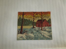 "Vtg. COUNTRY WINTER SCENE WITH CABIN Needlepoint TAPESTRY  - 13 1/2"" x 1... - £11.45 GBP"
