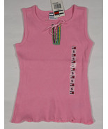 NWT TOMMY HILFIGER GIRLS SIZE SMALL S 7 TOP PINK STRIPED RIBBON TRIM NEW - $12.61