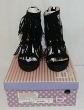 BF Betani Shiloh 8 Black Fringe Wedge Heel Sandals Size 7 image 1