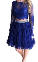 Two Piece Short Lace Prom Dress with Long Sleeves,Formal Dress,Homecomin... - $116.00