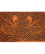 Kuna Abstract Art Mola Hand stitched Applique Detailed Bird Labyrinth Ma... - $47.49