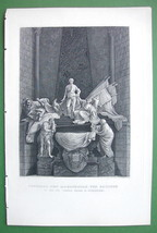 FRANCE Monument to Marshall von Sachsen at Strasburg - 1853 Antique Print - $9.18
