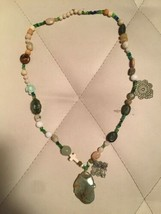 Vintage Jade Pendant With Different Color Stone Necklace  - $118.80