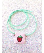 Strawberry Necklace Pocket - Small Square Necklace Pouch Kawaii Bag Hand... - $19.79