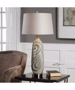 URBAN DESIGNER EMBOSSED SAGE GRAY CERAMIC TABLE LAMP AGED BRASS METAL - $184.80