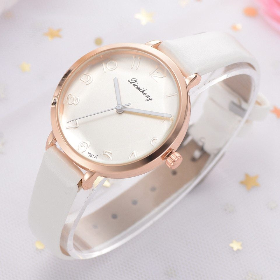 Yuhao® Women Leather Watch Luxury Candy Colors Dial Star Crystal Surface Quartz