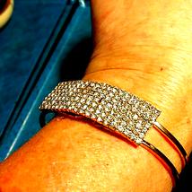 Elegant Golden Rhinestone Hinged Bracelet - $23.76