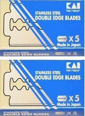 KAI Stainless Steel Double Edge Safety Razor Blades, 10 blades (5x2) - $6.92